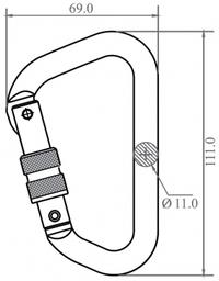 Alloy Carabiner Offset Shape Screw Gate