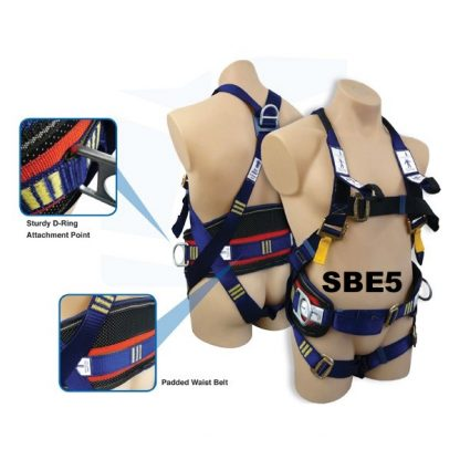 SBE5 Harness-Padded Waist Belt-Work Positioning D Rings