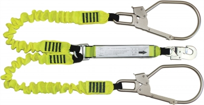 Elasticated Webbing Lanyard Double Leg Giant Steel Hooks