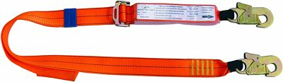 Adjustable Shock Absorbing  Lanyard  with 2 Double Action Hooks 2m