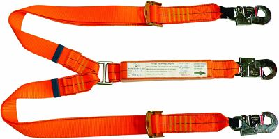 Adjustable Double Leg Shock Absorbing Lanyard with Double Action Hooks 2m