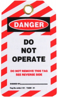 Danger Do Not Operate lock out tag